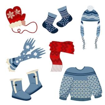 Zestaw płaskich zimowych ubrań i niezbędnych rzeczy