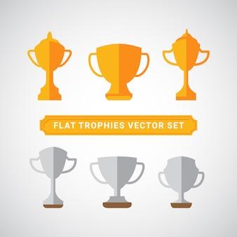 Zestaw płaskich złotych i srebrnych trofeów