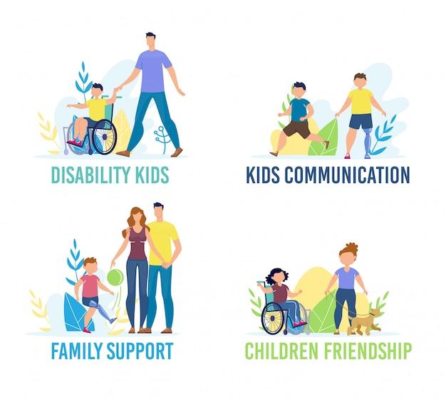 Zestaw płaskich znaków niepełnosprawnych dzieci