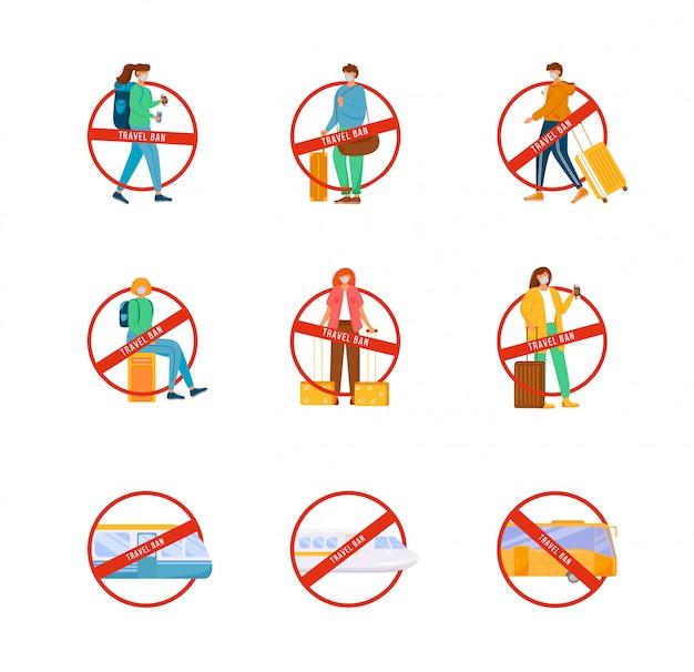 Zestaw płaskich znaków zakazu podróży