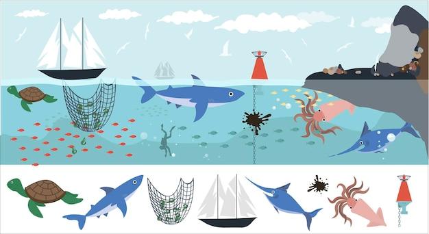 Zestaw płaskich zwierząt morskich zwierzęta morskie rośliny zatopione przedmioty statek kotwica kaligrafia