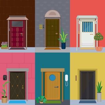 Zestaw płaskie eleganckie kolorowe drzwi