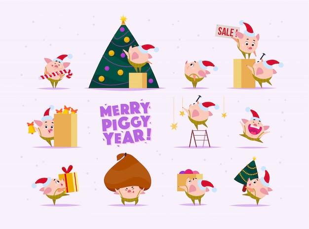 Zestaw płaskiego elfa ze świni w czapce świętego mikołaja w różnych sytuacjach - dekorowanie drzewa, noszenie pudełka, trzymanie ogromnej torby z prezentami itp. styl kreskówkowy.