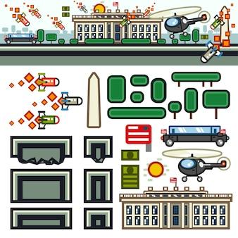 Zestaw płaskiego poziomu gry white house