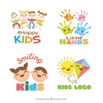 Zestaw płaskiej dzieci logo