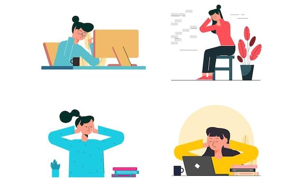 Zestaw płaskiej koncepcji z kobietą siedzącą w domu i zamykając uszy rękami. ma stresujący wyraz twarzy