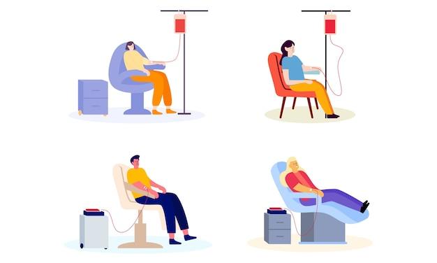 Zestaw płaskiej konstrukcji ludzi oddających krew ilustracja