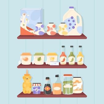 Zestaw płaskiej spiżarni z różnymi potrawami