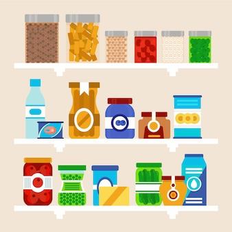 Zestaw płaskiej spiżarni z różnymi produktami spożywczymi