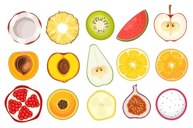 Zestaw plasterków owoców kokos, ananas, kiwi i arbuz, jabłko z brzoskwinią i morelą. gruszka, pomarańcza i cytryna z granatem, figami i ikonami na białym tle owoc smoka. ilustracja kreskówka wektor