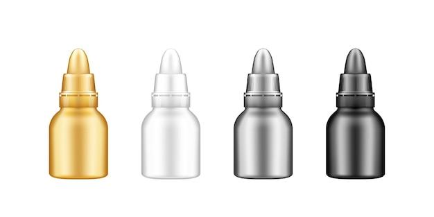 Zestaw Plastikowej Butelki Kroplowej Z Makietą Pokrywki Premium Wektorów