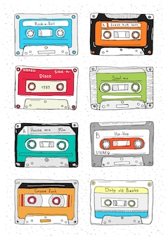Zestaw plastikowej kasety, taśmy audio z inną muzyką. ręcznie rysowane ilustracji retro.