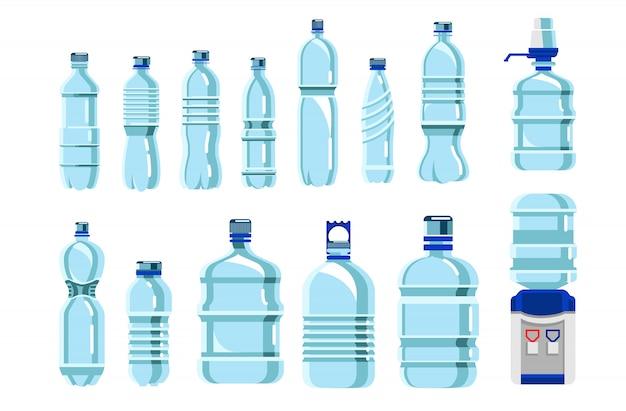 Zestaw plastikowych butelek na wodę. na białym tle pusty niebieski plastikowy pojemnik na napoje