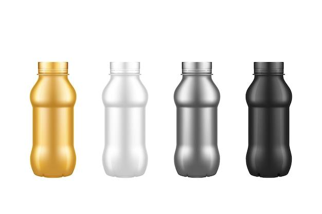Zestaw plastikowych butelek po jogurcie na białym tle - złoty, srebrny, czarny, biały z zakrętką