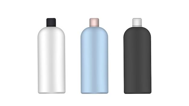Zestaw plastikowych butelek. realistyczna butelka. dobry do szamponu lub żelu pod prysznic. odosobniony. wektor.