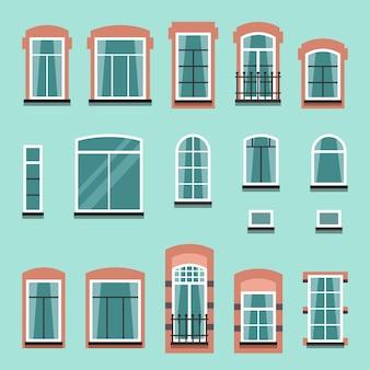 Zestaw plastikowych lub drewnianych ram okiennych wektor