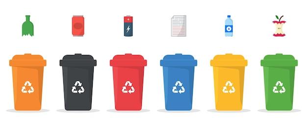 Zestaw plastikowych pojemników do ilustracji separacji śmieci