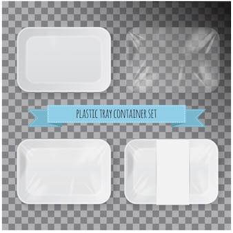 Zestaw plastikowych pojemników na żywność ze styropianu w białym prostokącie.