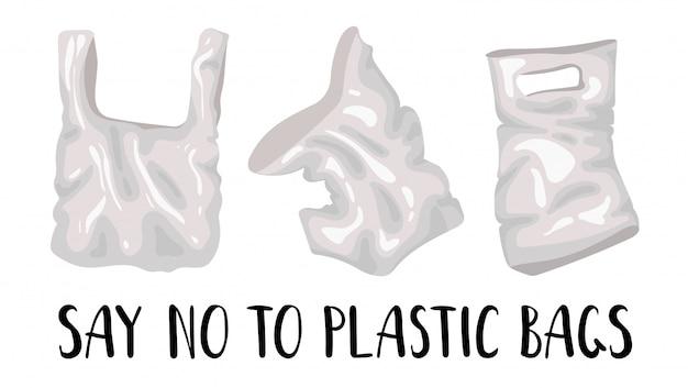 Zestaw plastikowych toreb i napisów - problem ekologiczny