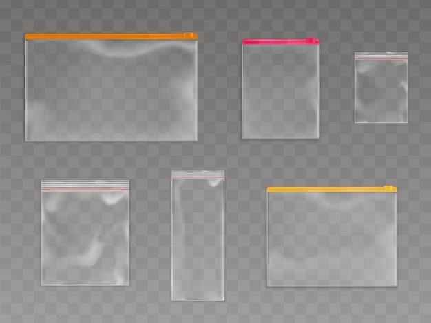 Zestaw plastikowych toreb na zamek błyskawiczny