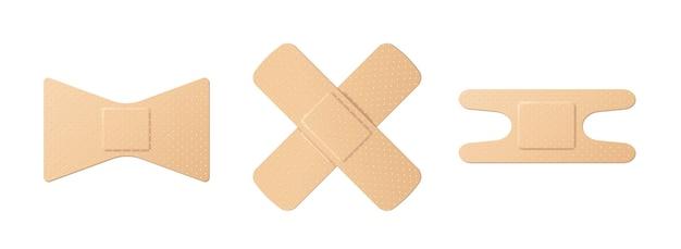 Zestaw plastra pierwszej pomocy oraz plastry medyczne. różne rodzaje tynków krzyżowych i innych kształtów. 3d realistyczne ilustracji wektorowych