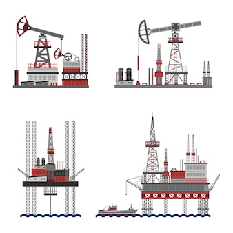 Zestaw platform naftowych ropy naftowej