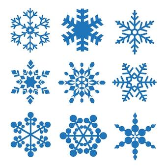 Zestaw płatki śniegu zestaw wektora