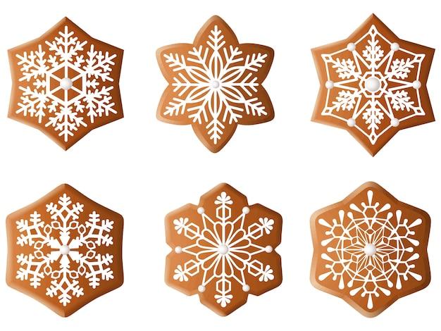 Zestaw płatków śniegu z piernika