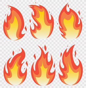 Zestaw płomieni ognia i efekt świetlny linii.