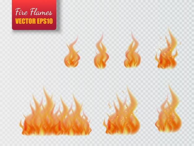 Zestaw płomieni ognia na przezroczystym tle.