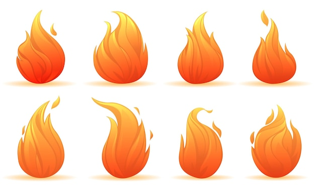 Zestaw płomieni świecących ognisk o różnych kształtach