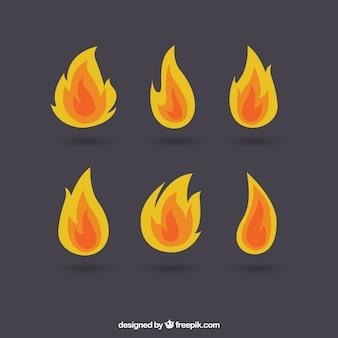 Zestaw płomieniach różnego typu