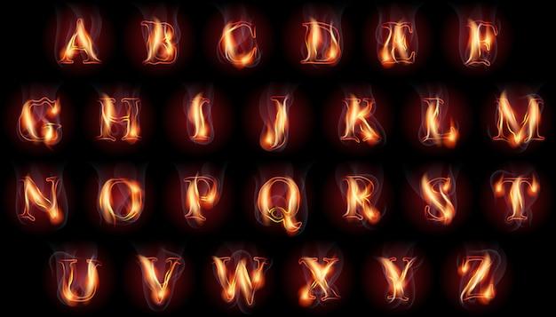 Zestaw płonących liter
