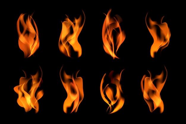 Zestaw płonących płomieni