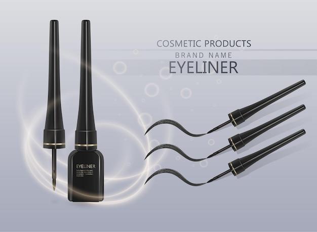 Zestaw płynny eyeliner, makieta produktu eyeliner do użytku kosmetycznego w ilustracji 3d, na białym tle na jasnym tle. ilustracja wektorowa eps 10
