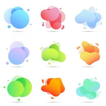 Zestaw płynnych kolorów abstrakcyjnych kształtów geometrycznych