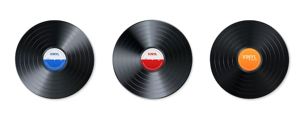 Zestaw płyt winylowych. projekt retro dysku audio. realistyczna płyta gramofonowa w stylu vintage z okładką. ilustracja.