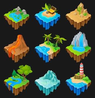 Zestaw pływających platform z różnymi krajobrazami. wulkan z płynącą lawą, pustynia z kaktusami, wodospad, wyspa z latarnią morską.