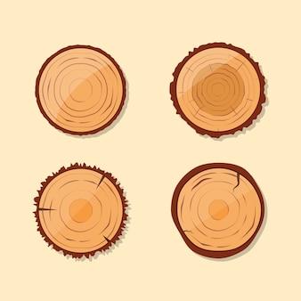 Zestaw pnia drewna ciętego na kawałki