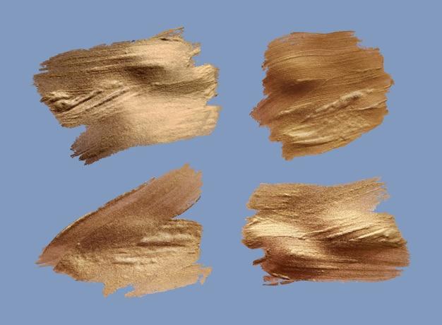 Zestaw pociągnięć pędzla. elementy projektu grunge. złota farba, tusz, pędzle, linie, nieczysty. brudne artystyczne pudełka, ramki. złote linie na białym tle. streszczenie złota błyszczące teksturowanej sztuki ilustracji.