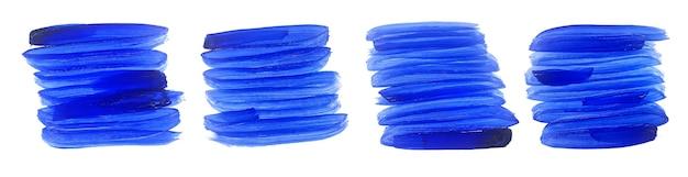 Zestaw pociągnięć pędzla streszczenie niebieski nieczysty akwarela