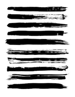 Zestaw pociągnięć pędzlem grunge. ilustracja wektorowa
