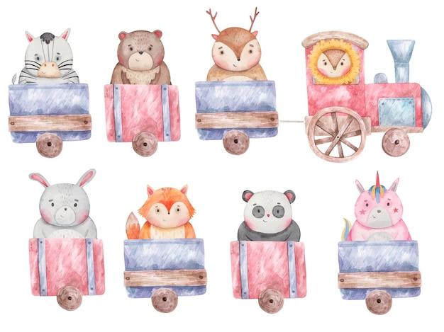 Zestaw pociągów, wagonów z różnymi uroczymi zwierzętami