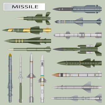 Zestaw pocisków i rakiet balistycznych na białym tle