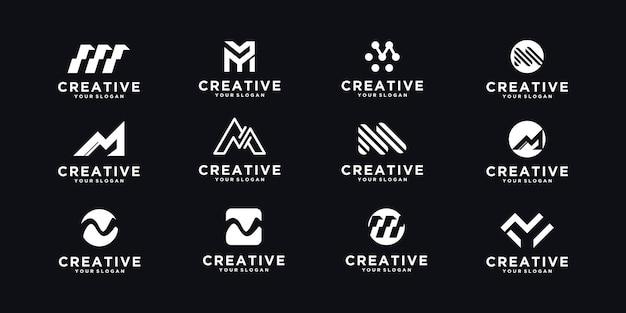 Zestaw początkowego logo m, odniesienie dla biznesu