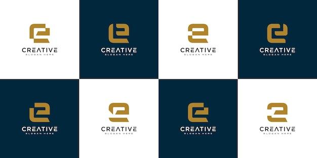 Zestaw początkowego projektu logo litery e