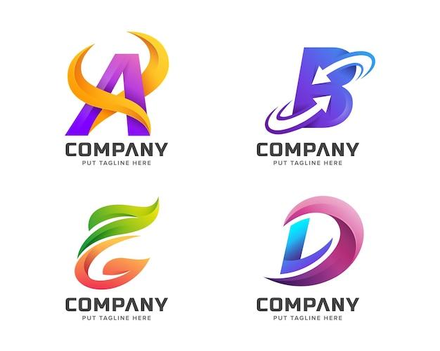 Zestaw początkowej kolekcji logo kolorowych listów