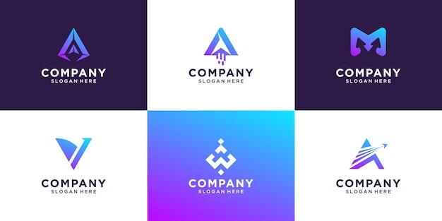Zestaw początkowej litery gradientu szablonu logo