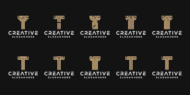 Zestaw początkowej litery t logo szablonu
