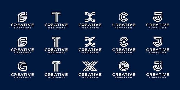 Zestaw początkowej połączonej litery tcxg logo szablon projektu logo